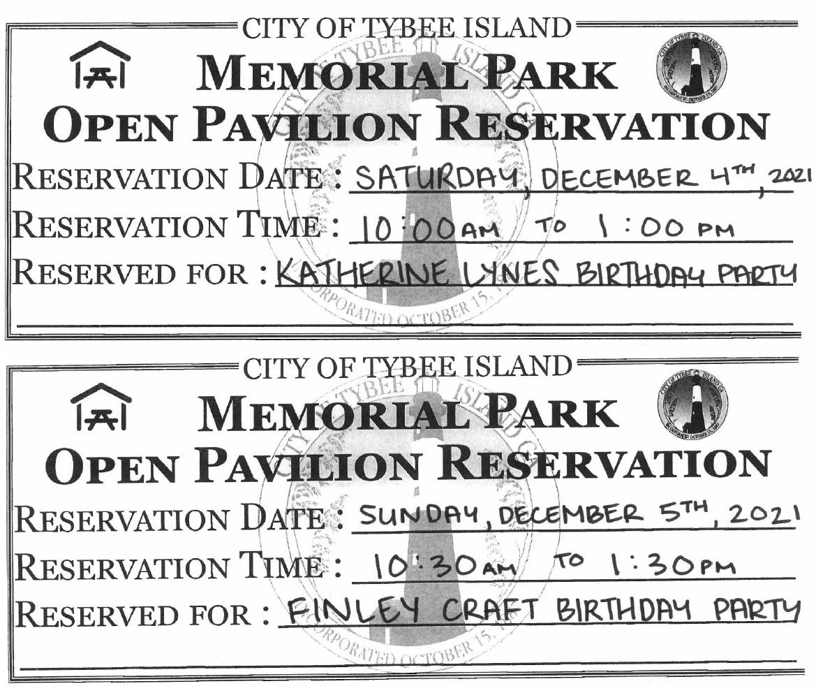 Upcoming Open Pavilion Reservation