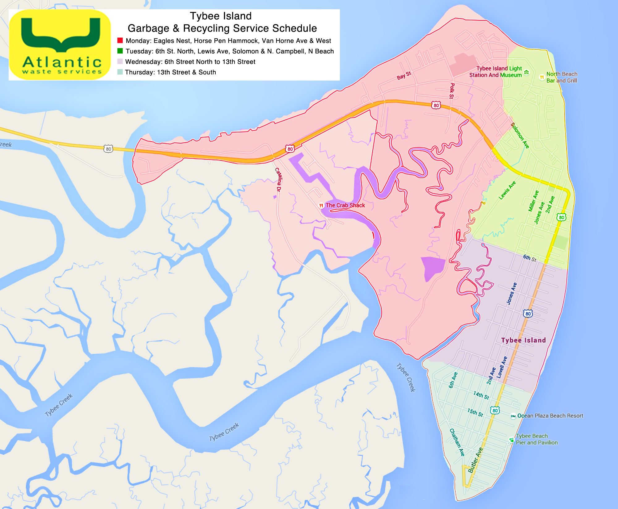Tybee Recycling Map