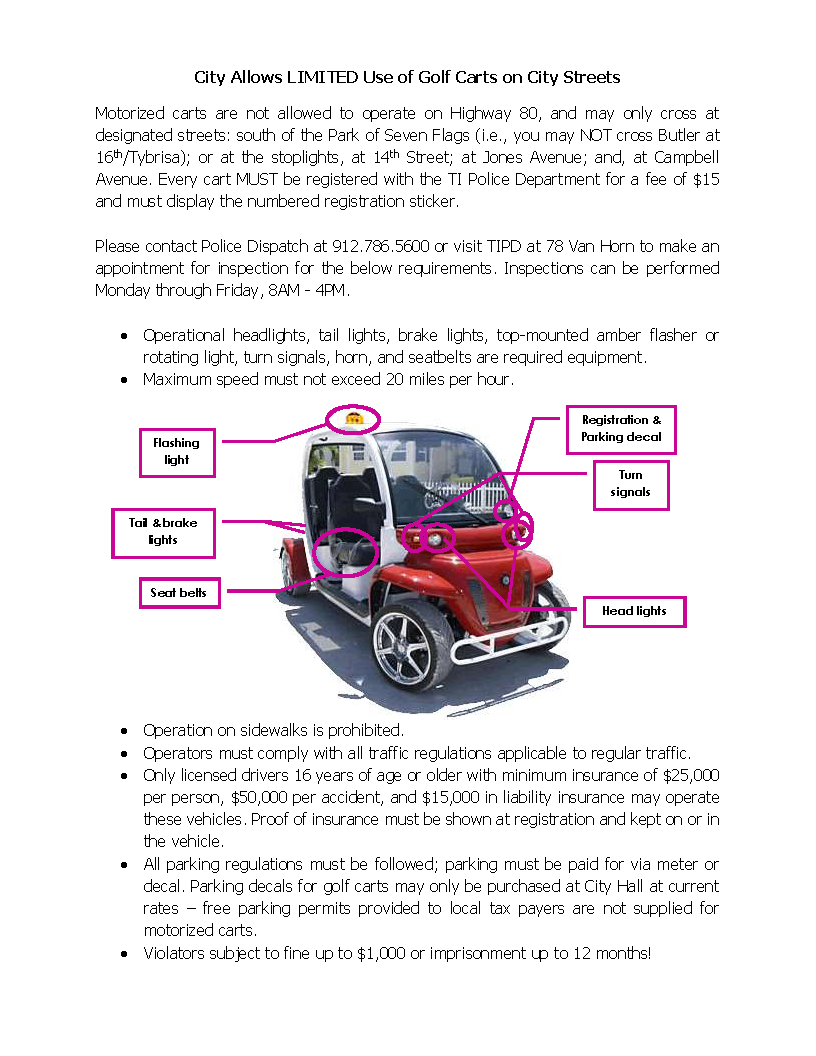 Golf Cart requirements illustration